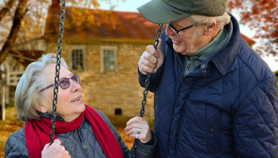 Retired couple in village