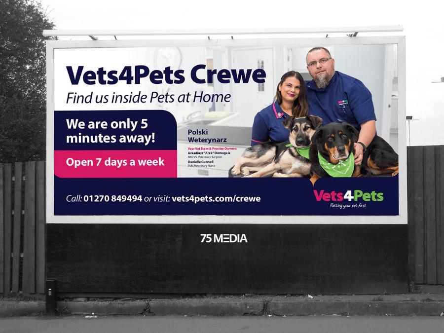 Billboard in Crewe advertising vets