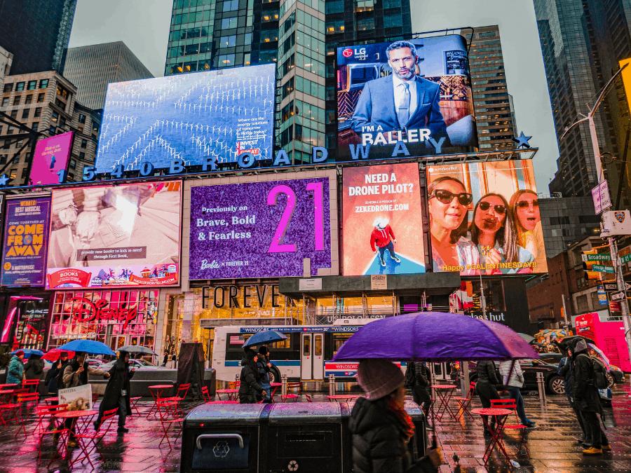 Digital billboards in city centre