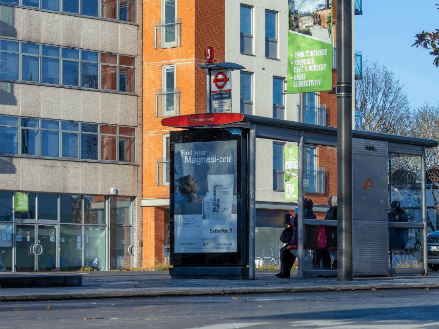 Digital bus shelter ad in London